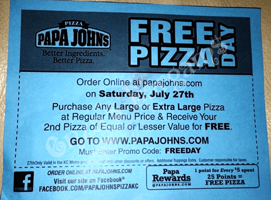 Papa Johns Promo Codes & Holiday Coupons for December, Save with 6 active Papa Johns promo codes, coupons, and free shipping deals. 🔥 Today's Top Deal: Chicago Only! 30% Off Site Wide. On average, shoppers save $44 using Papa Johns coupons from cspanel.ml